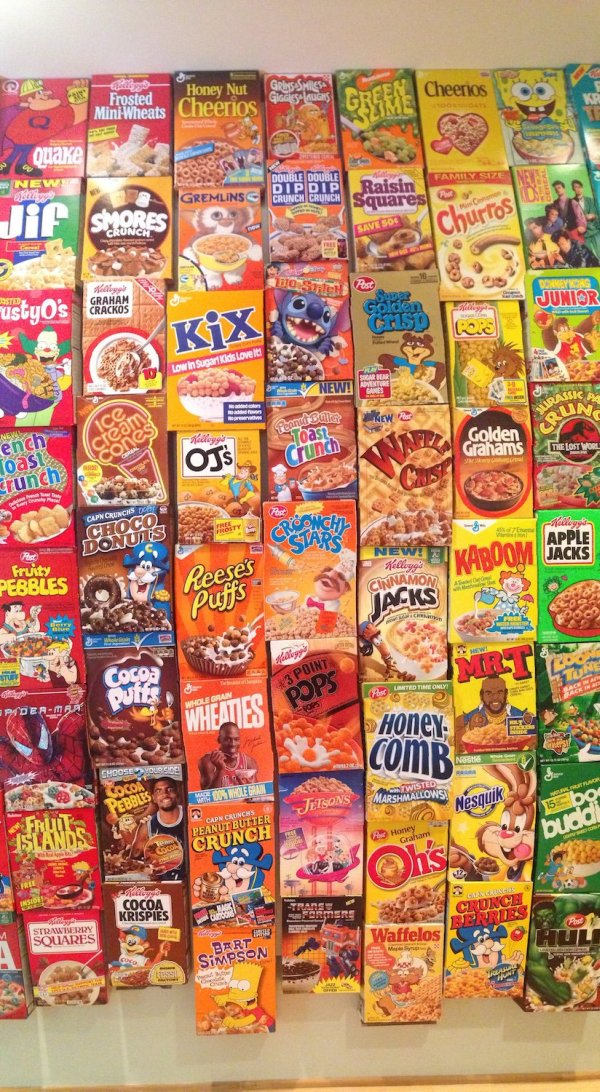 These People Used Cereal Boxes To Make The Coolest Wall Ever (15 pics)