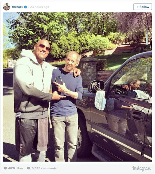 The Rock Makes a New Friend after Bashing His Car into Him (2 pics)