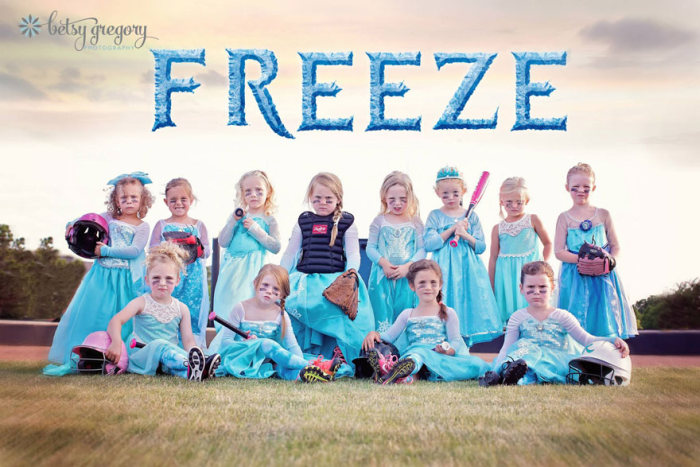 All Girl Softball Team Gets Fierce For A Frozen Photoshoot (7 pics)