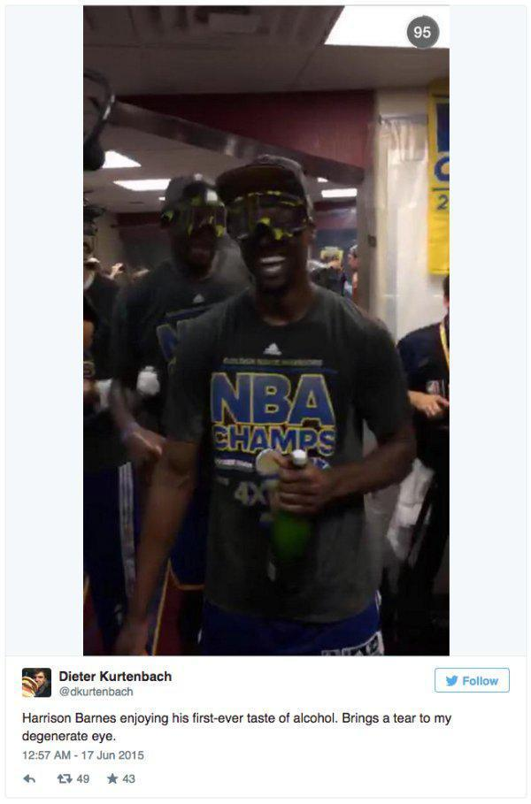 Harrison Barnes Drank His First Sip Of Alcohol After Winning The NBA Finals (3 pics)