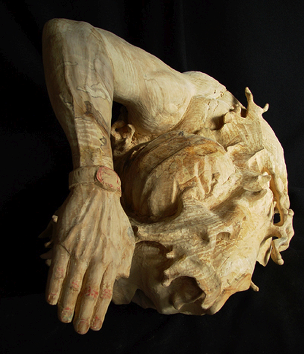 Escultura en madera: Nadador