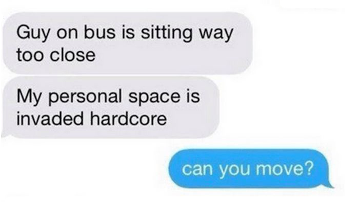 Creepy Guy On The Bus Reading Someone Else's Texts Gets Trolled Big Time (5 pics)