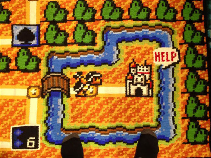 Norwegian Man Spends 6 Years Crocheting A Map From Super Mario Bros. 3 (10 pics)