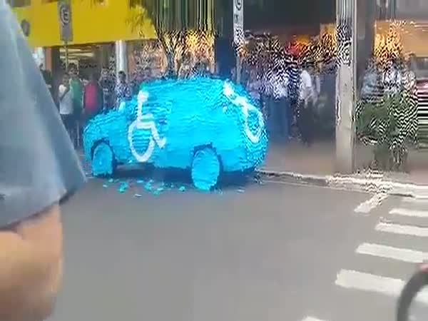 Car Parked In Handicapped Spot Covered In Stickers in Brazil