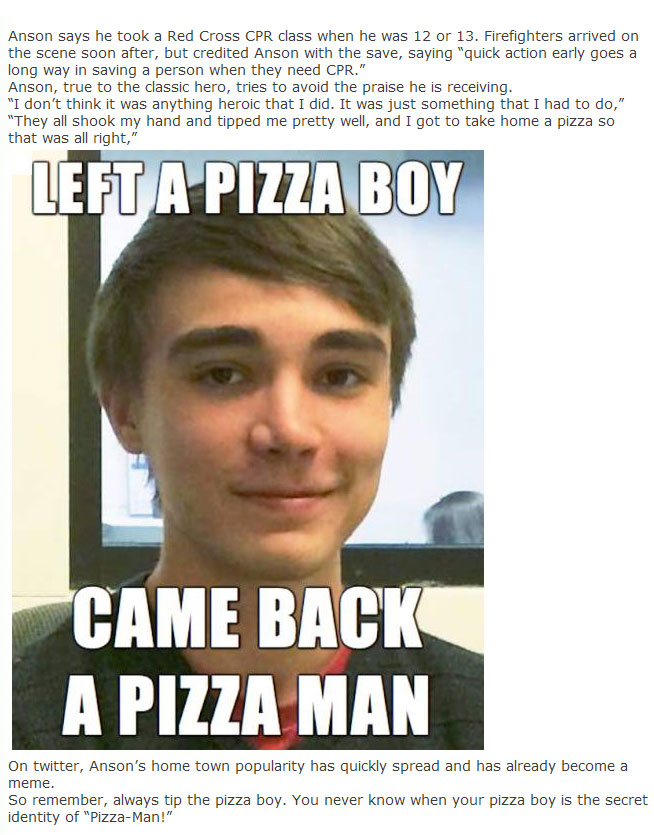 Local Pizza Boy Becomes A Local Hero After Saving Someone's Life (4 pics)