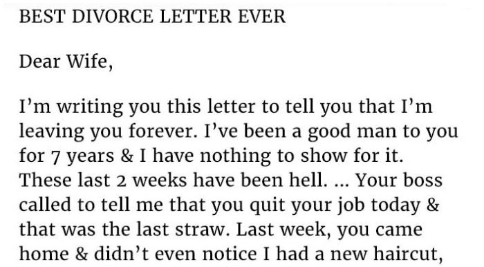 Wife Has The Best Response To Cheating Husband's Breakup Letter (2 pics)
