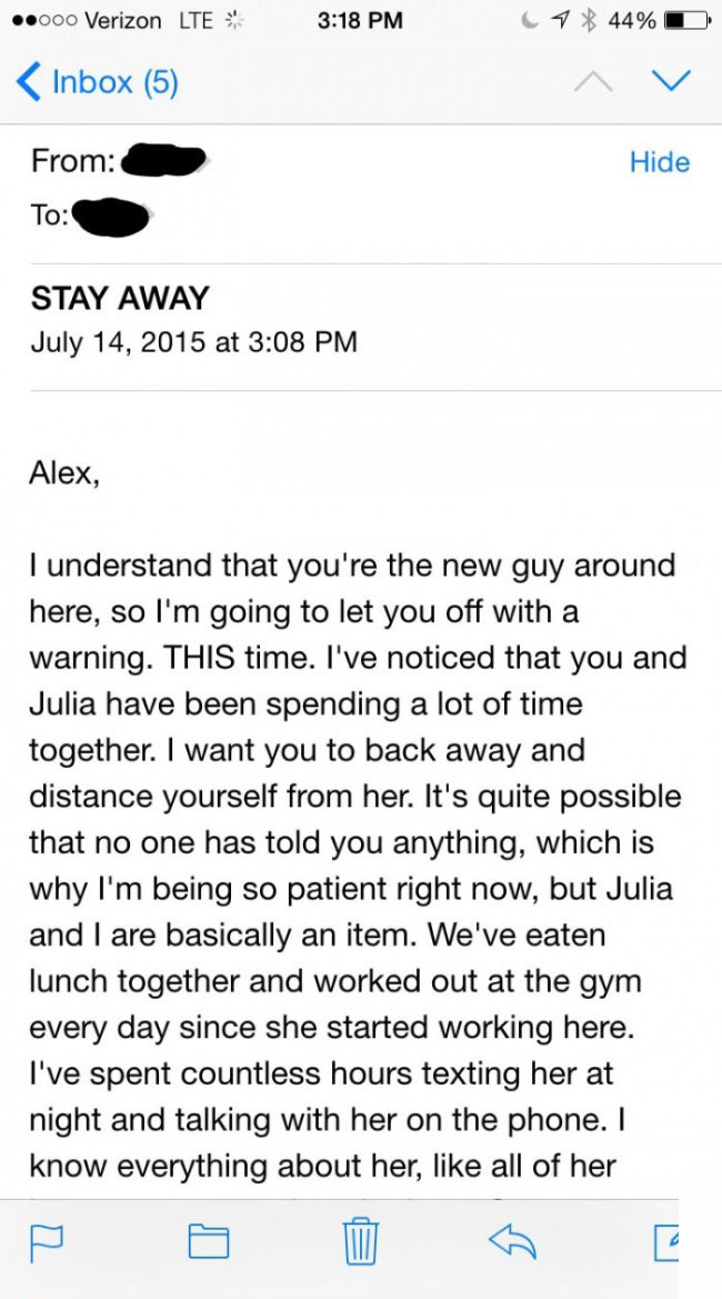 This Guy Got The Creepiest E-Mail Ever From His Co-Worker (2 pics)