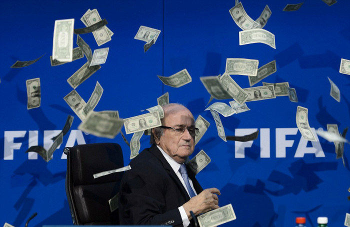 Discgraced FIFA President Sepp Blatter Gets Bribed By A Comedian (8 pics)