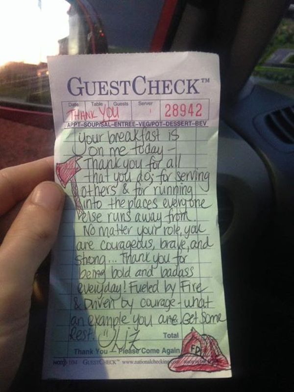 Tired Firefighters Get A Heartwarming Gift From A Kind Waitress