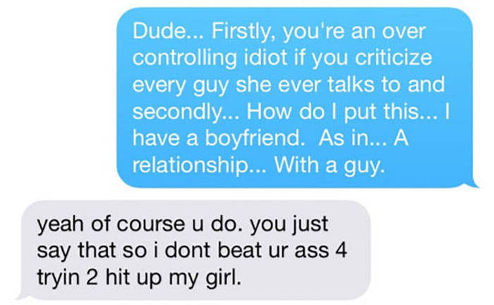 Girlfriend's Co Worker Puts Her Possessive Boyfriend In His Place (4 pics)