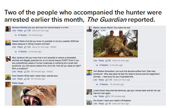 Dentist Gets His Social Media Pages Flooded After Killing Cecil The Lion (18 pics)