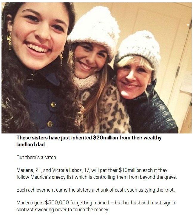 These Daughters Will Get A $20 Million Inheritance If They Follow Dad's List (2 pics)