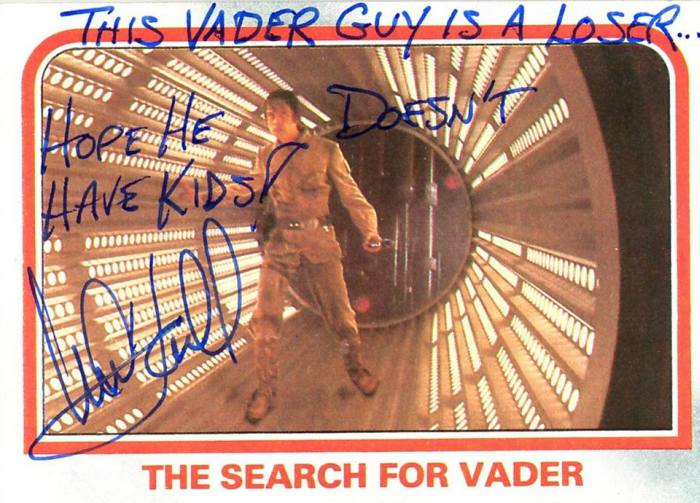 Mark Hamill Left Some Hilarious Autographs On These Star Wars Cards (21 pics)