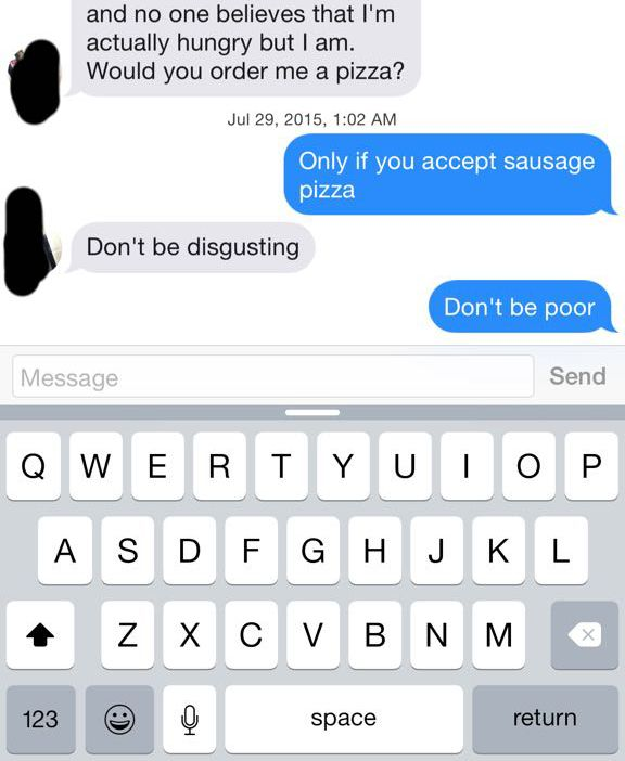 Girl Trolls Tinder Trying To Get Pizza But Instead She Just Gets Burned (2 pics)