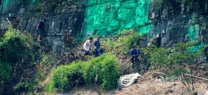 Man Hires Workers In China To Paint A 900 Foot Cliff Green (4 pics)