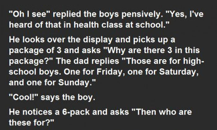Son Asks Dad Questions About Condoms And Gets An Unexpected Response (3 pics)