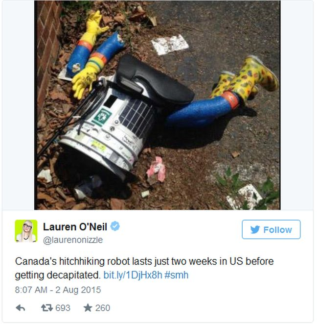 The Hitchhiking Robot Lasted Two Weeks In America Before It Was Murdered (4 pics)