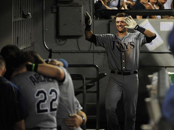 Rays Rookie Hits His First Home Run And Is Forced To Celebrate Alone (2 pics)