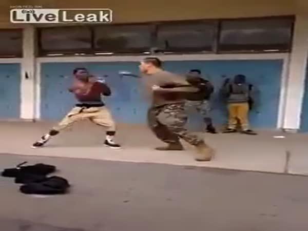 Marine Beats Thug