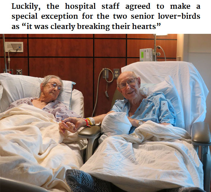 Hospital Allows Couple That's Been Married 68 Years To Stay In The Same Room (3 pics)