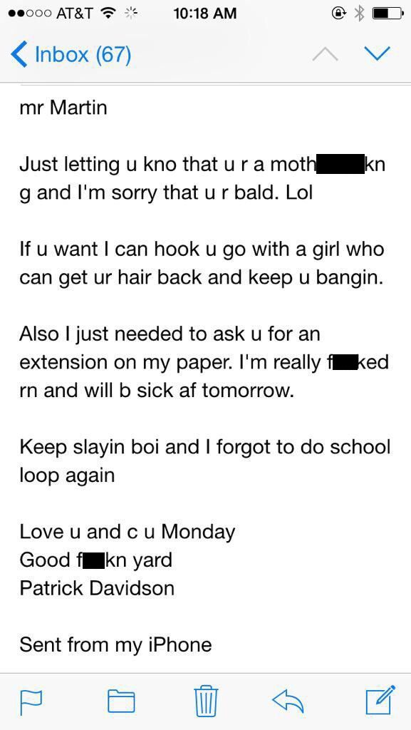 This Student Sent A Drunk E-Mail To His Teacher And Got An Awesome Response (2 pics)