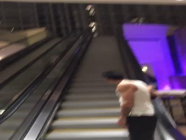 Drunk Friends Ride Escalator