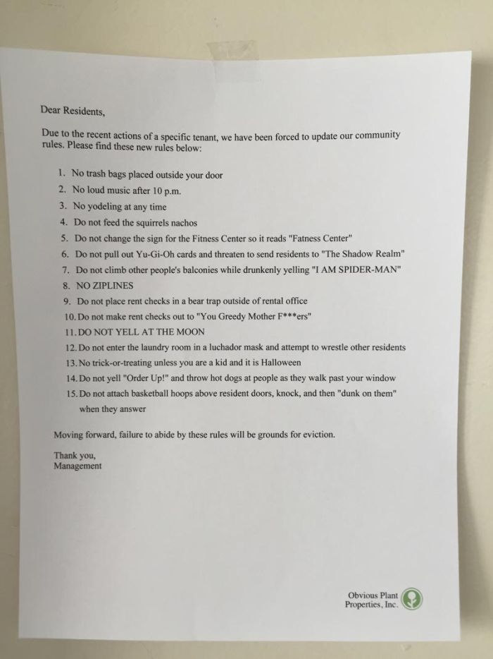 Man Leaves Funny Letter From Management On Apartment Complex Doors (2 pics)