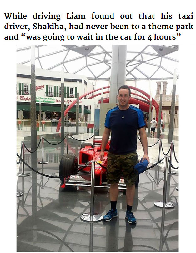 Friendly Passenger Takes His Cab Driver To Theme Park For The First Time (5 pics)