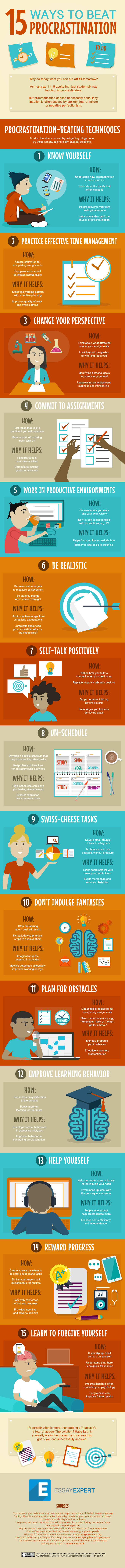 15 Tips You Can Use To Beat Procrastination (infographic)