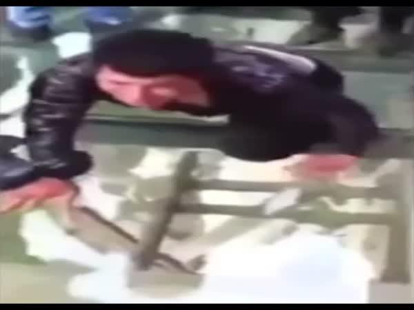 Funny Guy On A Skywalk