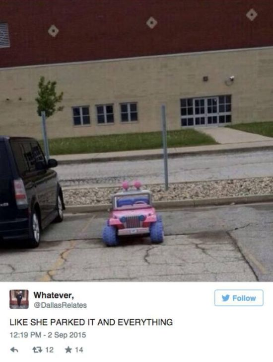 A College Student Rides Around Campus In A Barbie Jeep (10 pics)