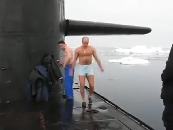 Russian Submariners Swim At the North Pole
