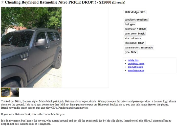 Woman Sells Her Cheating Ex-Boyfriend's 'Batmobile' (5 pics)