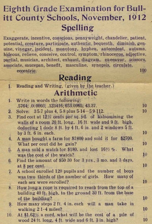 Can You Pass This Test From 1912? (4 pics)