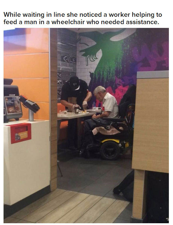 Compassionate McDonald's Worker Helps Man Who Can't Feed Himself (5 pics)