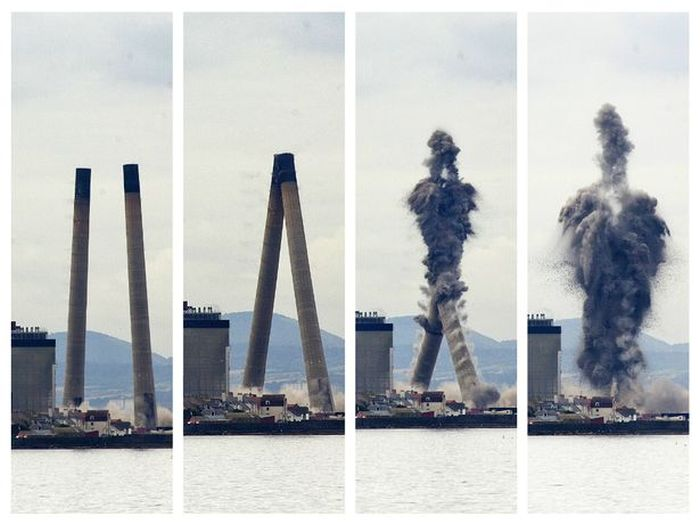 Twin Smokestacks Collide While Being Blown To Pieces (pic + 2 videos)