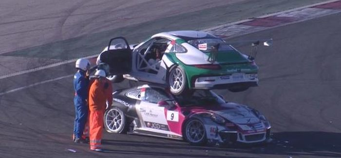 Bizarre Crash Puts A Porsche On Top Of Another Porsche (2 pics + video)