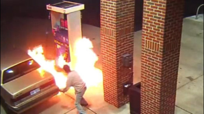 Man Tries To Kill A Spider By Setting Fire To A Gas Pump (2 gifs)