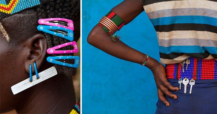 Ehtiopian Tribes Use Trash To Create Cool Headwear (12 pics)