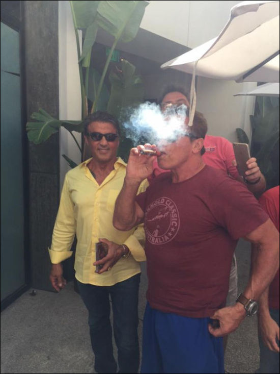 Sylvester Stallone And Fan Get Photobombed By Arnold Schwarzenegger (3 pics)