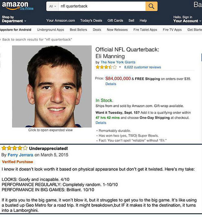 If People Could Review NFL Quarterbacks On Amazon (13 pics)