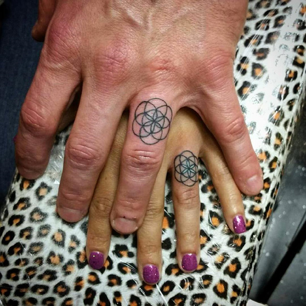 These Brave Couples Decided To Ditch The Wedding Rings And Get Tattoos Instead (25 pics)