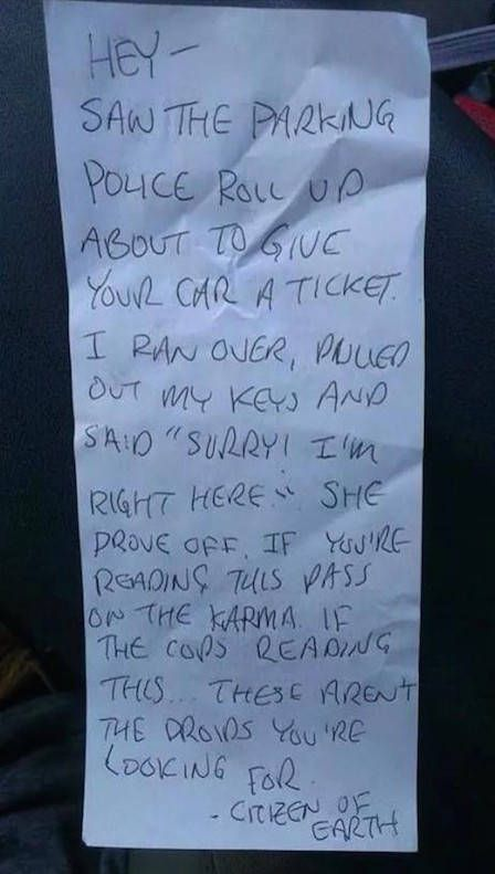 Driver Finds Awesome Note On Their Car (2 pics)