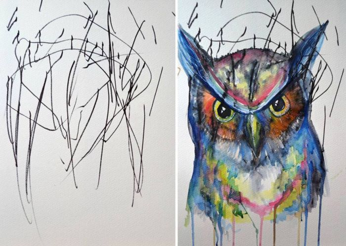 Mom Transforms 2 Year Old Daughter's Scribbles Into Art Masterpieces (5 pics)