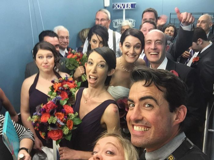 This Wedding Party Get Trapped In An Elevator But Just Kept Partying (8 pics)