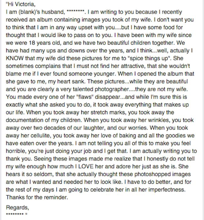 Husband Writes Tear Jerking Letter To The Woman Who Photoshopped His Wife (3 pics)