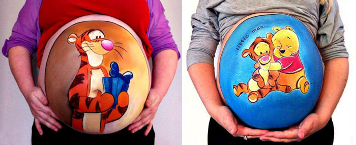 Dad Proposes To Pregnant Wife By Painting Her Baby Bump (10 pics)