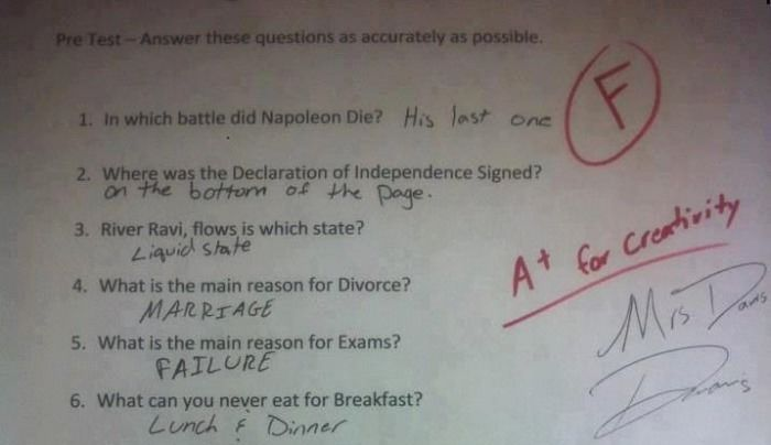 This Kid Failed The Test But Got Bonus Points For Creativity (1 pic)