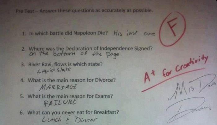 This Kid Failed The Test But Got Bonus Points For Creativity (1 pic)