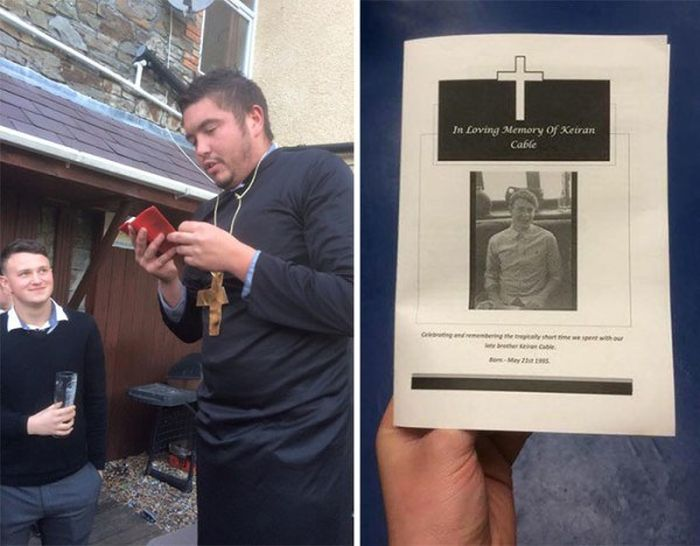 Friends Hold A Funeral For Man They Lost To A Relationship (8 pics)